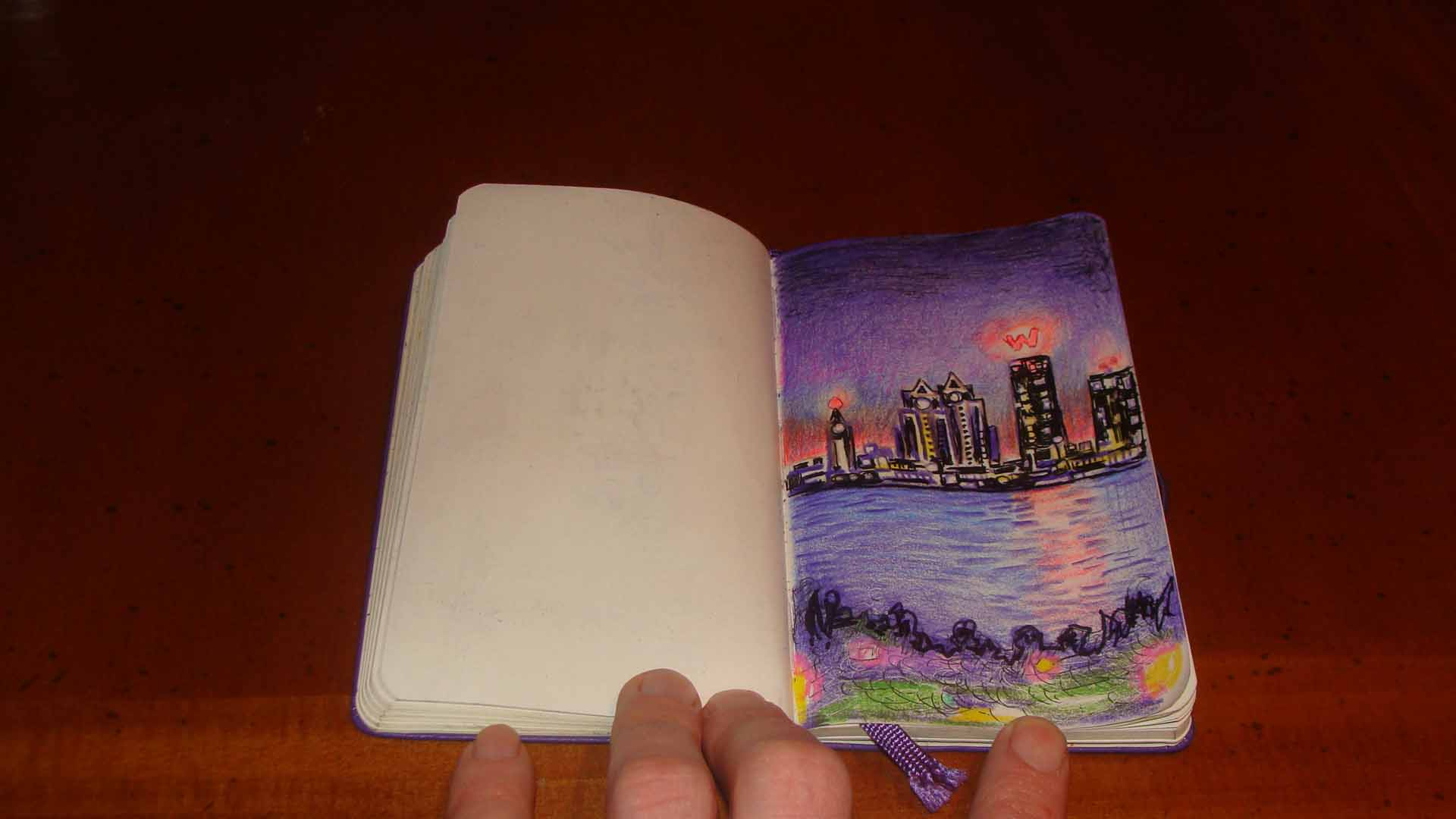 W Hotel across the Hudson (Wayne Ferrebee, 2015, color pencil sketch)