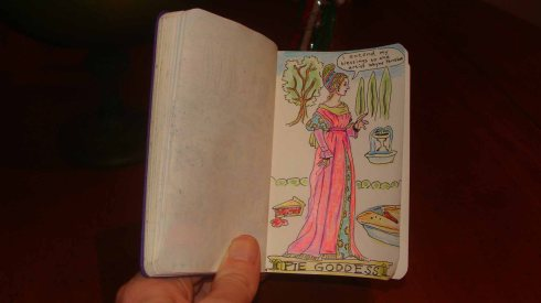 Endorsement from the Pie Goddess (Wayne Ferrebee, 2015, color Pencil Sketch)