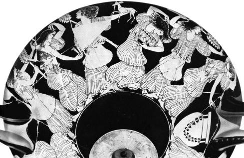 Maenads dance along the rim of a fifth century Greek Drinking Vessel