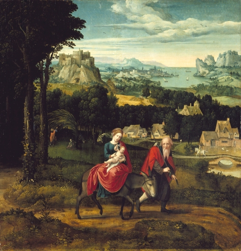 The Flight into Egypt (Master of the Female Half-Lengths, ca. 1500, oil on panel)