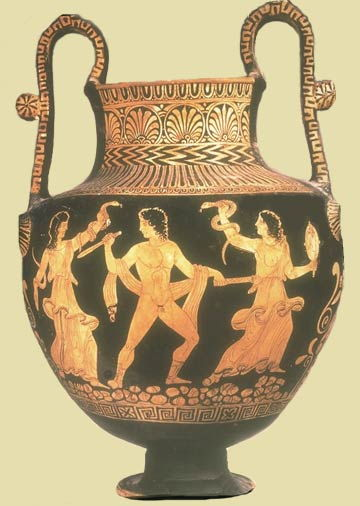 5th Century Red and black vase of Orestes