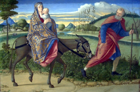 The Flight into Egypt (Vittore Carpaccio, ca. 1500, oil on panel)