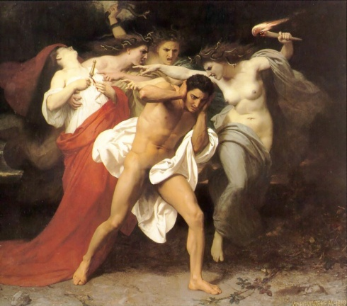 The Remorse of Orestes (William-Adolphe Bouguereau, 1862, oil on canvas)