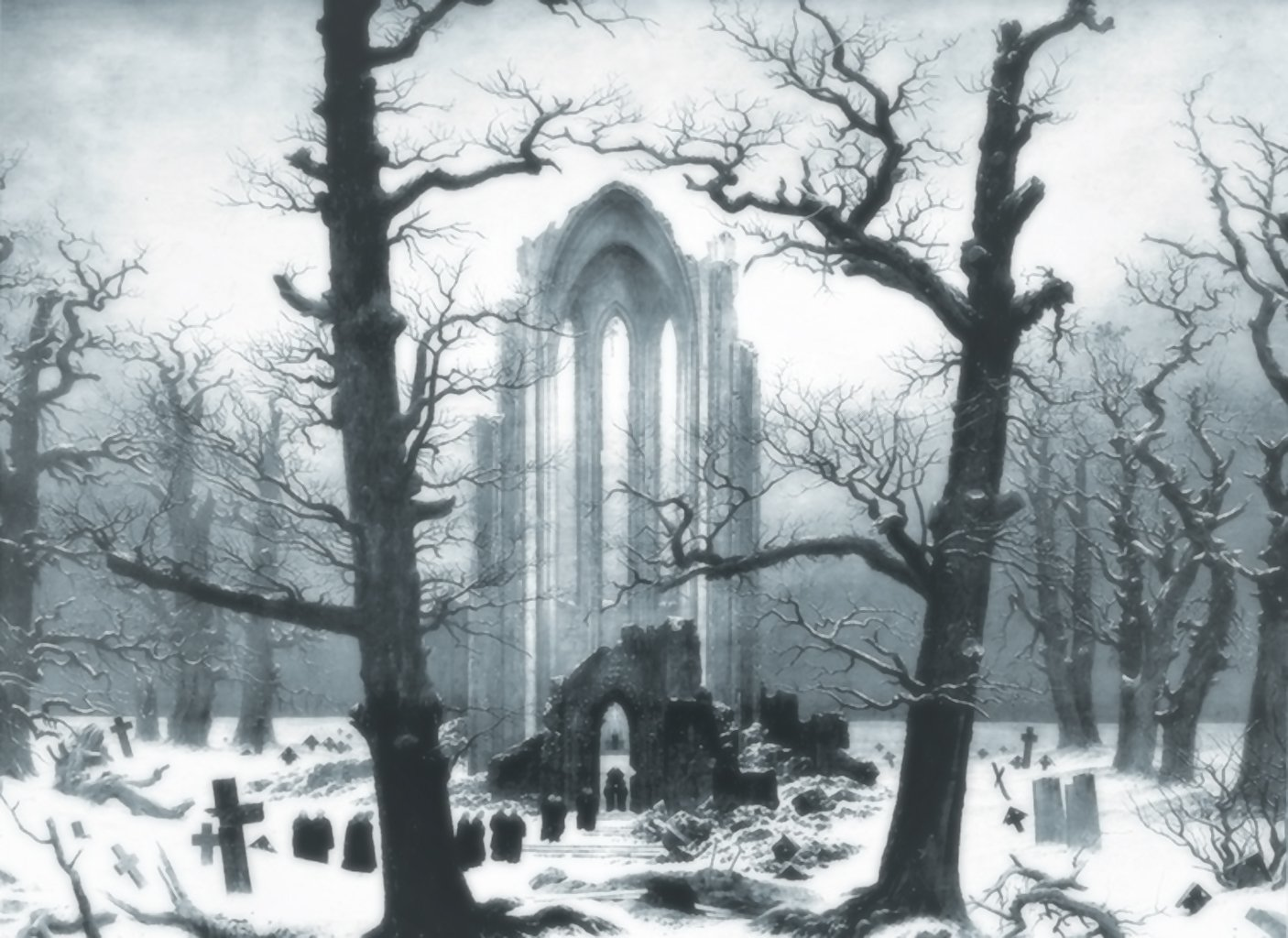 Monastery Graveyard in the Snow (Caspar David Friedrich, 1819, oil on canvas)