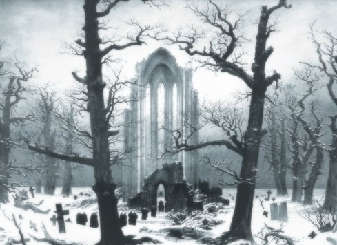 Monastery Graveyard in the Snow (Caspar David Friedrich, 1819, oil on canvas)