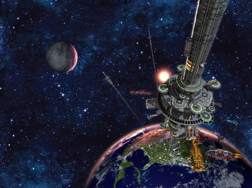 Artist's Conception of a Space Elevator--one of the miracles which should be possible through nanotechnology