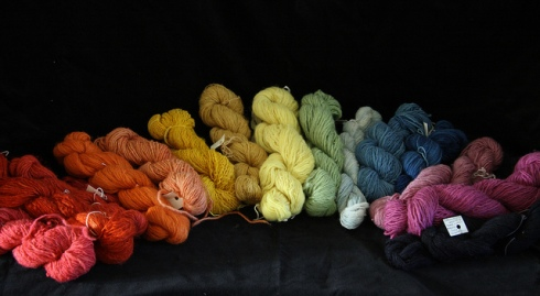 A rainbow of wools dyed with natural dyes