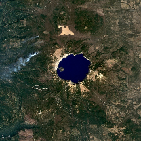 NASA's Landsat 5 satellite captured this true-color image of Crater Lake National Park in South-Central Oregon last September