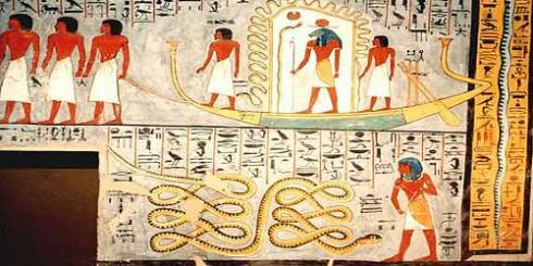 Ra on the the Mesektet with Apophis below (from the Tomb of Ramses I, ca. 1290 BC)
