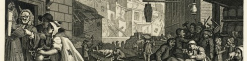"The cropped version of William Hogarth's ""Gin Lane"" which I have used as a banner forever"