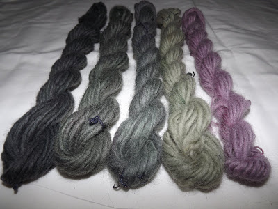 Wool dyed with elderberry and sundry mordants (http://thirtyeightstitches.blogspot.com)