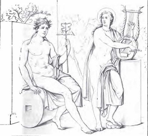 1834 drawing of an ancient Roman painting of Apollo and Mercury from Pompei
