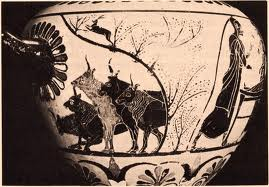 Hermes stealing the cattle of Apollo (5th century Attic vase)