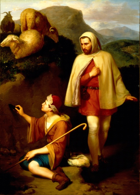 Giotto and Cimabue (José María Obregón, 1857, oil on canvas)