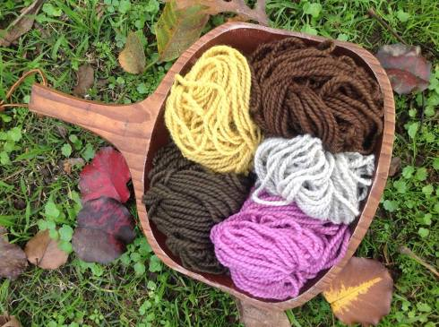 Wools dyed with lichens