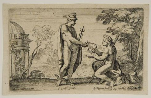 Mercury exchanging the lyre for the rod with Apollo