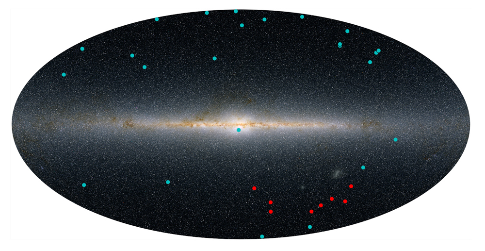 Previously discovered dwarf satellite galaxies (in blue) and the newly discovered candidates (in red)  (Yao-Yuan Mao, Ralf Kaehler, Risa Wechsler (KIPAC/SLAC))