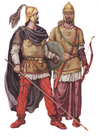 An artist's reconstruction of what late Sarmatian Warriors might have looked like