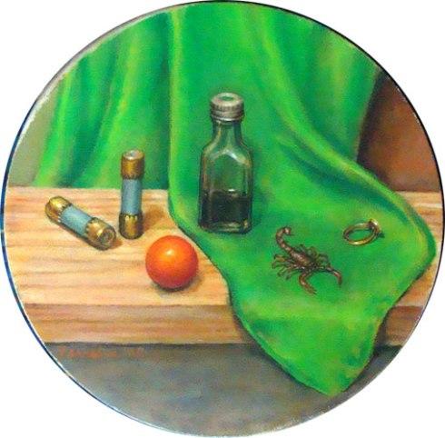 Still Life with Mystery Serum (Wayne Ferrebee, 2002, oil on canvas)