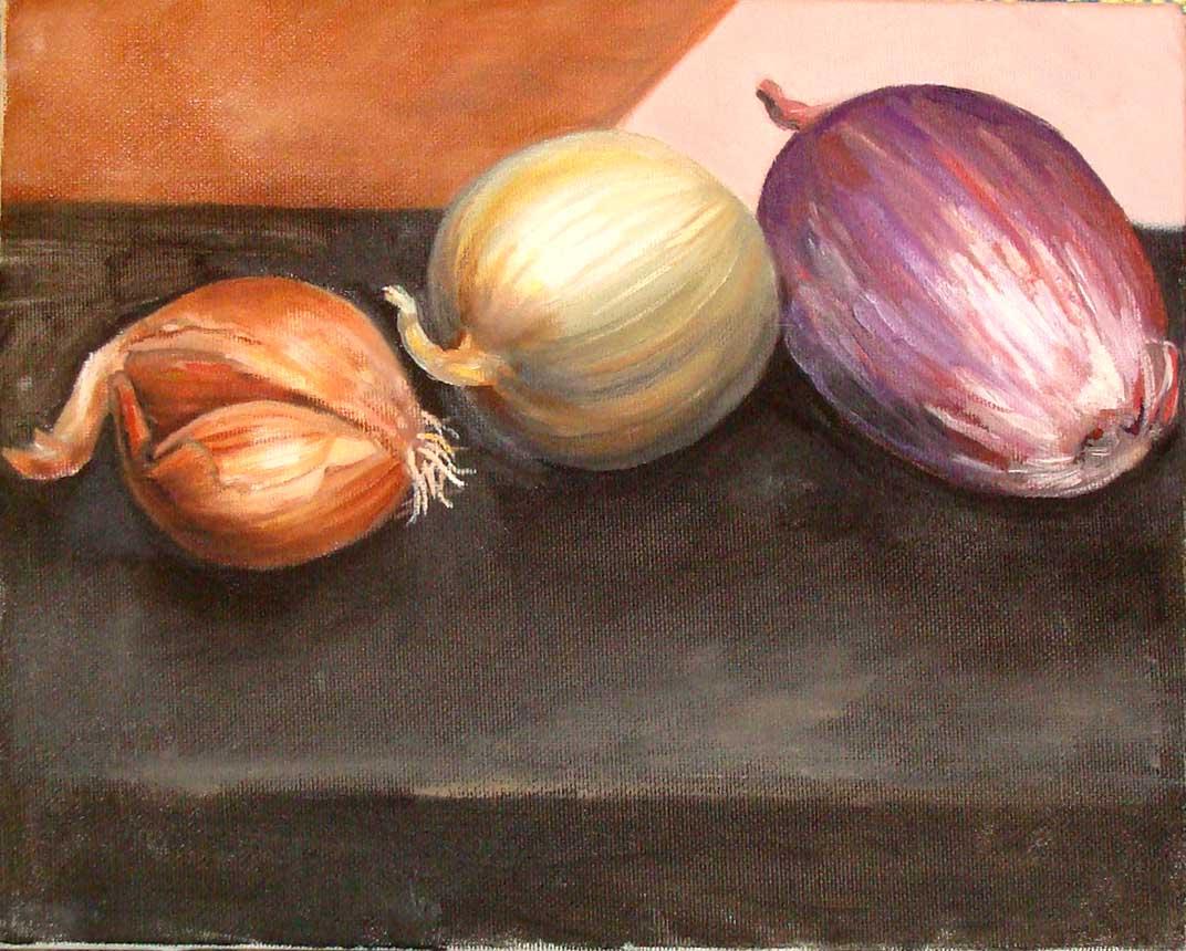 Onions (Wayne Ferrebee, 2002, oil on canvas)