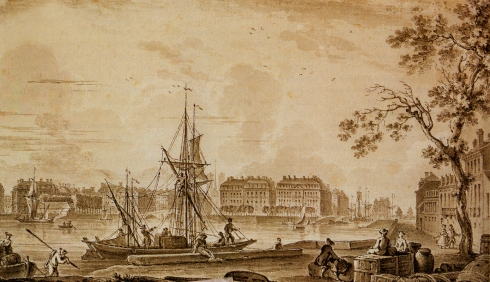 The port of Nantes ( attributed to Nicolas Ozanne, ca. 1800, inkwash drawing)