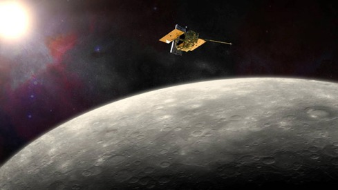 Artist's conception of MESSENGER above Mercury (NASA)