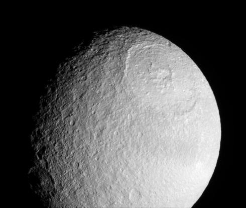 The Great Basin on Saturn's Tethys  (Credit: Cassini Imaging Team)