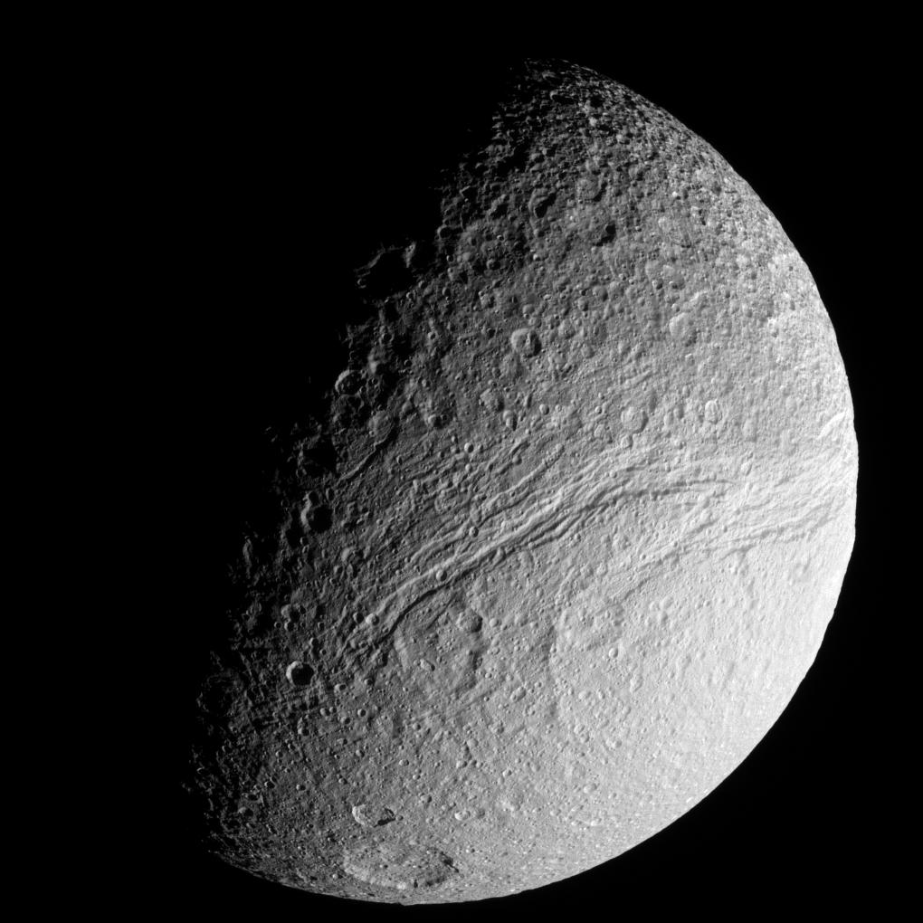Ithaca Chasma: The Great Rift on Saturn's Tethys  (Credit: Cassini Imaging Team)