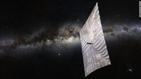 An artist's rendition of a solar sail spacecraft!