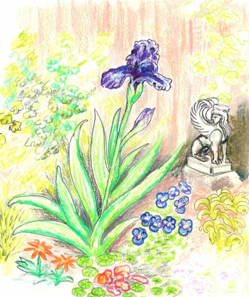 Iris and Greek Sphinx (Wayne Ferrebee, 2015, colored pencil on paper)