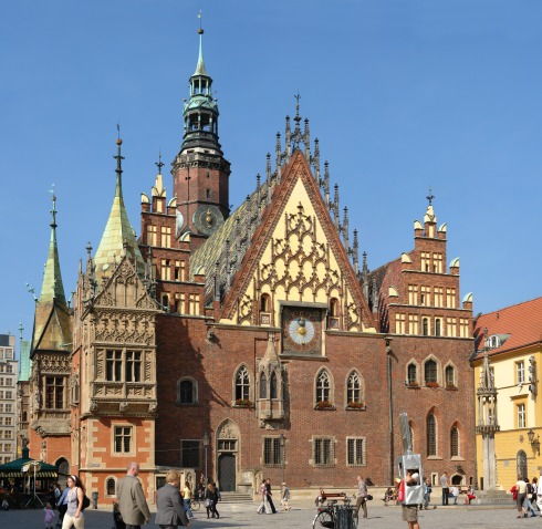 Historic City Hall built in a typical 14th century Brick Gothic (Wrocław, Poland)