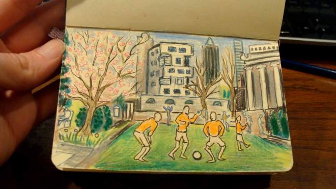 Spring Soccer (Wayne Ferrebee, 2015, colored pencil and ink)