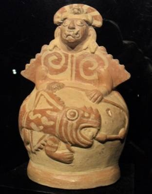 Moche Vessel: A Human with a Large Fish