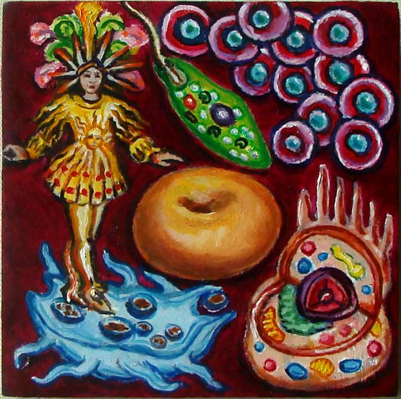 Cell Donut (Wayne Ferrebee, 2015, oil on panel)
