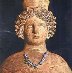 Bust of the goddess Tanit found in the necropolis of Puig des Molins. 4th century B.C. Museum of Puig des Molins in Ibiza (Spain