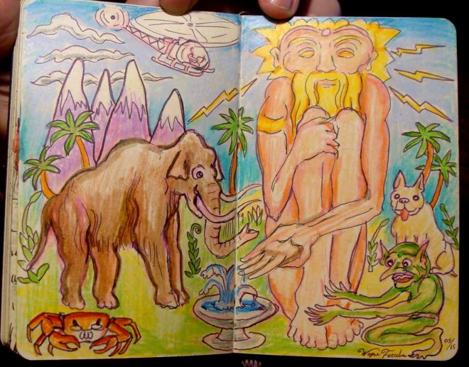 Funny Sketch of Giants (Wayne Ferrebee, 2015, ink and colored pencil)