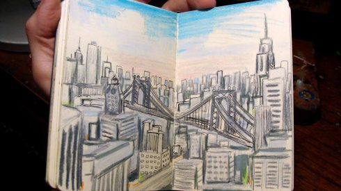 Sketch of Lower Manhattan from Courthouse (Wayne Ferrebee, 2015, ink and colored pencil)
