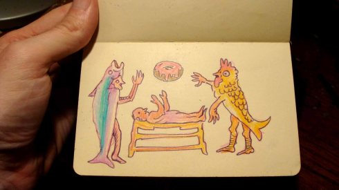 Strange Priests with Donut (Wayne Ferrebee, 2015, ink and colored pencil)