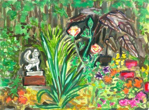 Sphinx and Rose (Wayne Ferrebee, 2015, watercolor and ink)