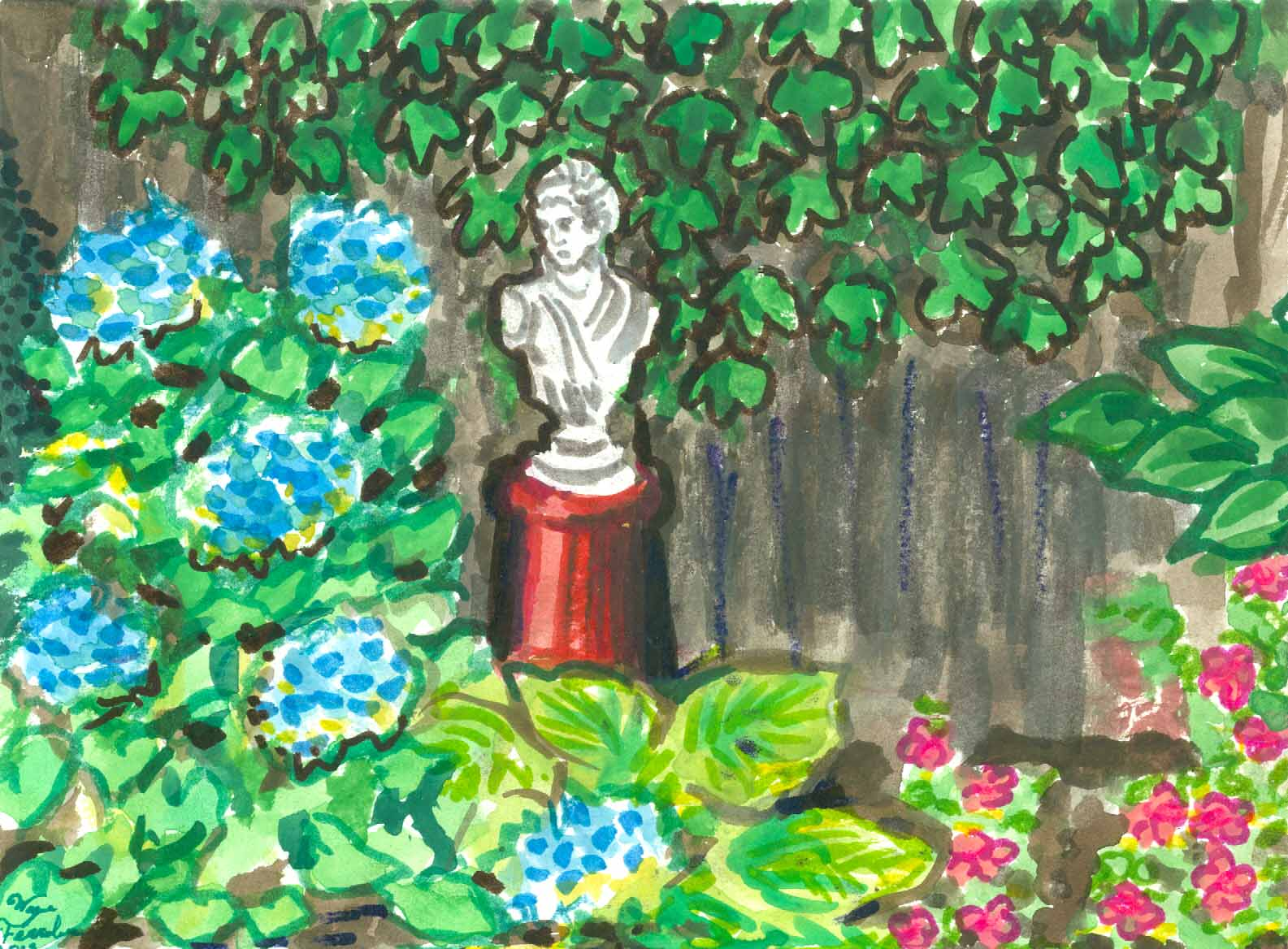 Hydrangea and Bust (Wayne Ferrebee, 2015, watercolor and ink)