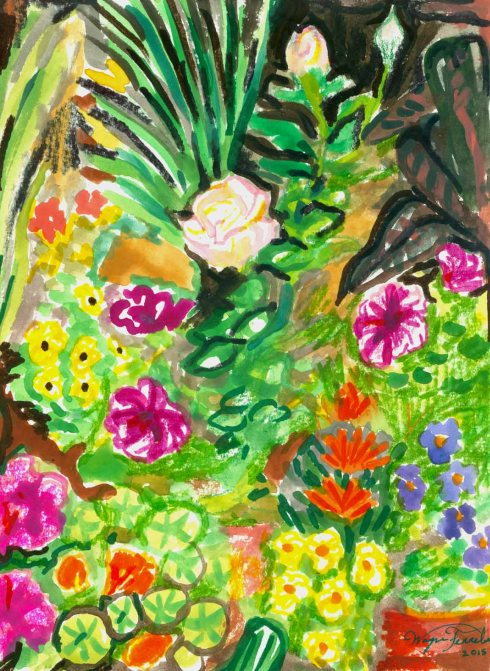 Garden Flowers (Wayne Ferrebee, 2015, watercolor and ink)