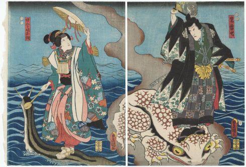 Actors Ichikawa Danjûrô VIII as Jiraiya and Iwai Kumesaburô III as Inaka musume Otsuna (Utagawa Kunisada, 1852, woodblock print)