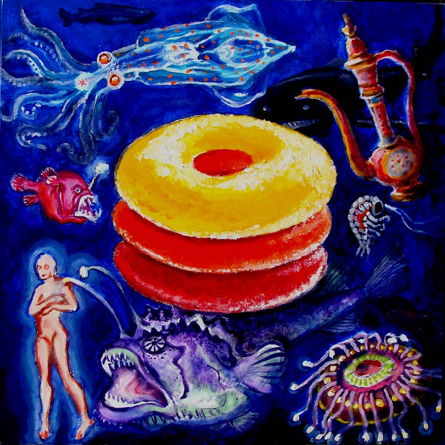 There is Nothing Suspicious About These Glowing Treats in the ocean Depths (Wayne Ferrebee, 2015, oil on panel)