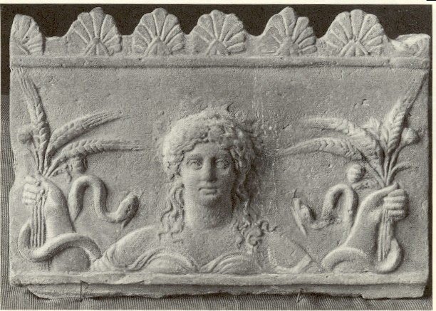 Ceres with Poppies and Snakes (Roman, ca. 50 BC-50 AD, Stone Bas-relief)