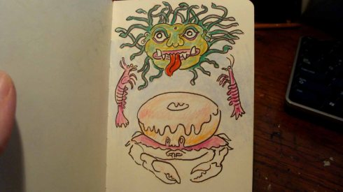 Donut with Arthropods and Gorgon's Head (Wayne Ferrebee, 2015, ink and colored pencil on paper)