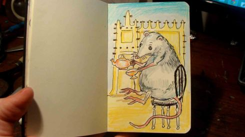 The Dainty Fat Mouse (Wayne Ferrebee, color pencil and ink, 2015)