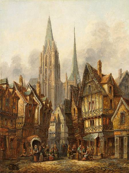 Gothic Cathedral in a Medieval City (Pieter Cornelis Dommersen, ca. late 19th century, oil on canvas)