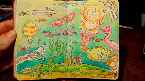 Jelly Lagoon (Wayne Ferrebee, 2015, color pencil and ink)