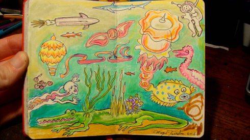 Jelly Lagoon (Wayne Ferrebee, 2015, color pencil and ink)