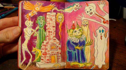Monster Soirée (Wayne Ferrebee, 2015, color pencil and ink)